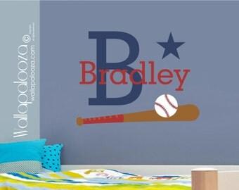 Baseball Wall Decal - Boys name wall decal - kids room decal - baseball decal