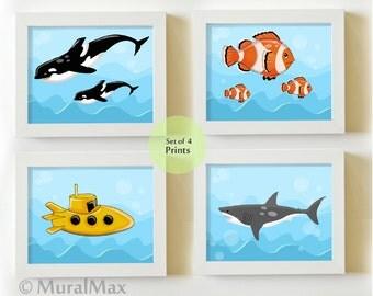 Under The Sea Nursery Art Set Sea Life Ocean Creatures Kids Room Bathroom Decor