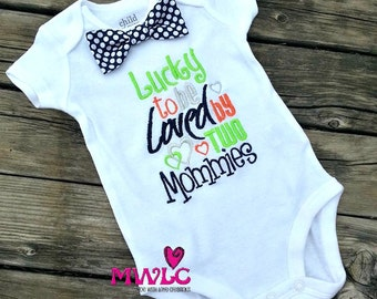 Lucky to be Loved by Two Mommies-Custom bodysuit-Loved by Two Mommies Bodysuit-Personalized Bodysuit