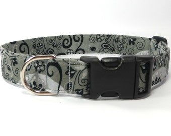 Gray Dog Collar, Pet Collar, Adjustable Dog Collar, Gray, Silver Black Dog Collar
