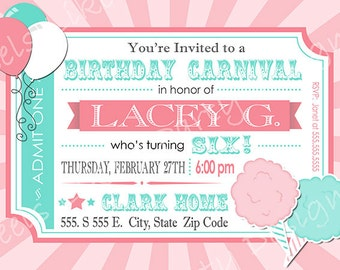 Custom Pink Carnival Birthday Party Invite with Cotton Candy