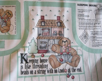 Daisy Kingdom Apron Kit-Apron Sewing Panel-Apron Panel-Potholder Panel-Bear Apron Supply-Keeping House Panel