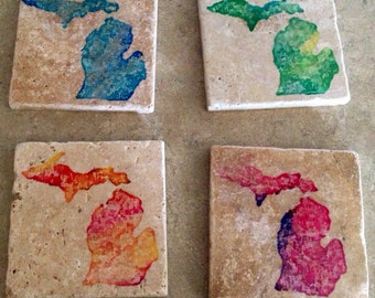 Set of 4 Tumbled Tile Michigan Coasters with Cork backing.