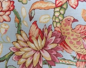 Set of 2 Fabric Pieces in sturdy Linen Floral and Bird Motiff - Linen - Yardage - Material