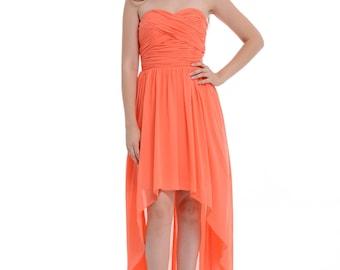 Coral High-Low Sweetheart Peach Chiffon Bridesmaid Dress, Asymmetrical Chiffon Dress With Ruffle