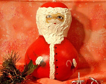 Santa Bottle Gourd, Christmas, Red with Candy Cane, Large, Handpainted (S1120)