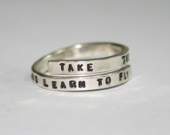 Handstamped Beatles Lyric Ring, 'Take these broken wings and learn to fly' Sterling Silver, 925, handmade. Adjustable