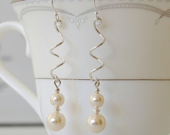Twisted Pearl Earrings, Sterling Silver and Pearl Earrings, Dangle Earrings, Bridal Jewelry, Bridesmaids