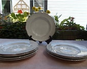 Vintage J G Meakin Cake Plates 8 White Plates with Silver Tone Trim Sterling Colonial England Ironstone England