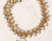 Hand Crocheted Natural Stone Beaded Bracelet