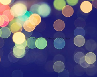 8X12 Fine Art Print, bokeh photography, abstract, modern wall art, blue decor, circles, lights, warm tones, sparkle picture, sparkly photo