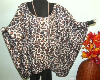 ANIMAL PRINT Fleece Poncho or Tunic - Stylish good with Black - One Size -  Lightweight, snuggly and warm