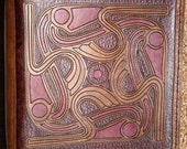 Leather Binder / Hand Tooled in Antiqued Mahogany and Wine - GOTLAND