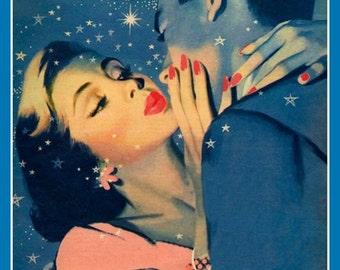 Vintage 1950's illustration Fridge magnet Kissing couple see stars romance love