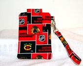 NHL Cell Phone Wristlet or Cross Body Bag,  Choose your favorite NHL Team, MP3 Bag,  iPod Bag, iPhone 5, 6, 6Plus, Samsung Galaxy Bag