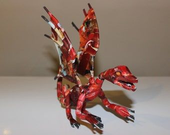 Little Red Dragon - Paper Mache Sculpture