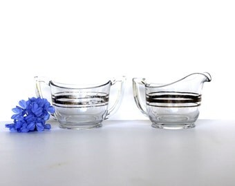 Vintage Creamer Set, Silver and Glass, 1950's