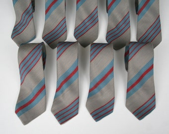 Striped skinny necktie, 80's vintage, washable gray blue and red necktie, more available