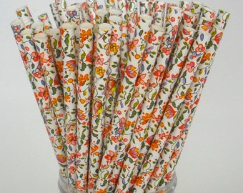 Floral Paper Straws as seen in Country LIving Magazine Paper Drinking Straws.... Wedding Elegant Vintage Inspired, Biodegradable