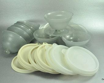 Tupperware Dessert Pudding Cups Bowls  Smoke Gray Pedestal Vintage Set of 10 with Lids 754