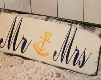 Mr and Mrs Sign/Anchor/Nautical/U Choose Colors/Great Shower Gift/Reception Sign/Ocean Wedding/Boat/Navy