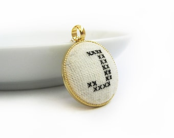 Hand Stitched Gold Plate Pendant. Perfect Gift for Her.