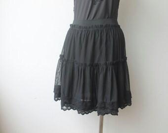 Black Lace Skirt, Gothic Lolita Skirt, Short Black Skirt