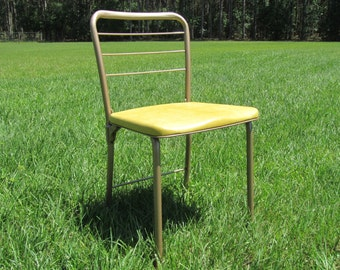 Mid Century Gatefold Chair, Retro Gatefold Chair, Retro Yellow Metal Folding Chair, Vintage Yellow Chair
