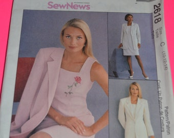 McCall's 2618  Misses Dress and Lined Jacket Sewing Pattern - Sizes 10 12 14