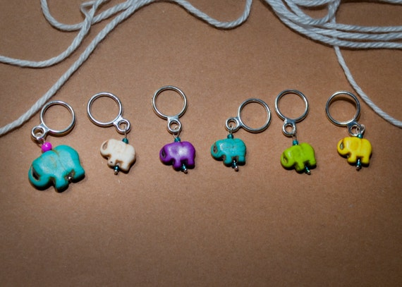 Mama and Baby Elephant Stitch Markers (Set of 6)