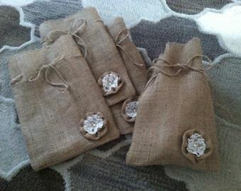 Burlap bag 8x12 gift bag , Wedding favor bag