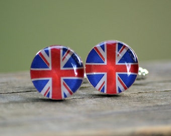 Union Jack Cufflinks - United Kingdom Flag British Britain Patriotic Handmade Resin Cuff Links Set Gift Men