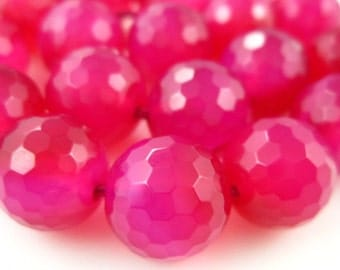 """AAA-Hot Pink Chalcedony Faceted Disco Round Bolls- 7"""" Strand -Stones measure -10mm"""