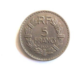 """Vintage French  5  francs 1935 nichel coin.""""  For very collectors.  art. 3016, Diameter mm. 31.82th birthday"""