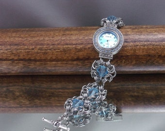 Upcycled Chainmail Watch with Swarovski Crystals