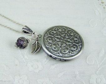 Silver embossed locket, Amethyst locket, Scrolled designed locket, Brushed silver locket, Amethyst crystal, February birthstone, Locket
