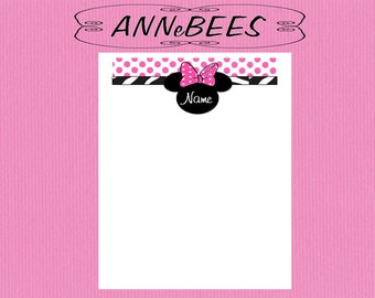 Pink Minnie Mouse Personalized Note Pad