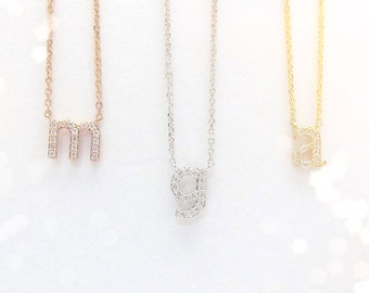 Mini 14k Gold Lowercase Diamond Initial Necklace