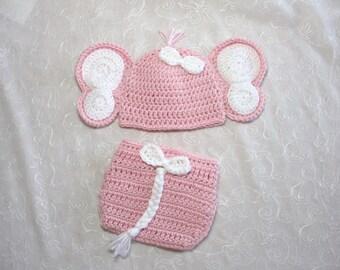 Baby Girl Elephant Hat with Matching Diaper Cover Set~Photo Prop~Newborn Diaper Set~ Crochet Elephant Diaper Set~Pink and White Diaper Set