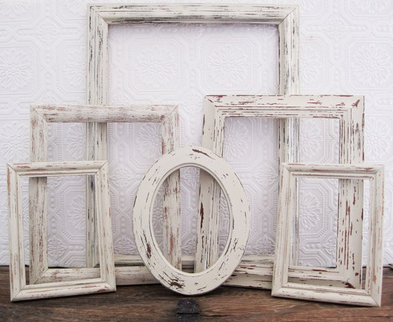 open picture frame set of 6 antique white shabby chic wall. Black Bedroom Furniture Sets. Home Design Ideas