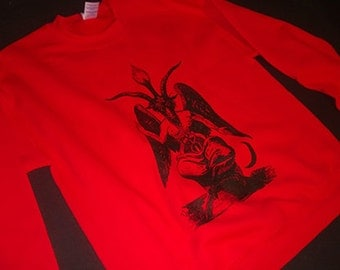 BAPHOMET sweatshirt Occult Witchcraft Evil Satan Satanic mens horror Witch !  Fleece Sweater for the evil person in your life