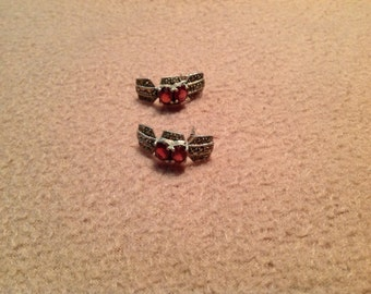 Vintage Sterling Silver and Marcasite Pierced Earrings with Red Stones