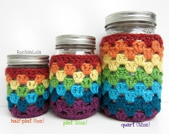 mason jar cozy - non-slip sleeve - made in your color choice- half pint 8oz - pint 16oz - quart 32oz - coffee cozy - handmade by RockinLola