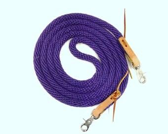 Poly Rope Trail Endurance Roping Loop Reins  w Leather Water Tie Ends, Snaps U Pick Color & Length