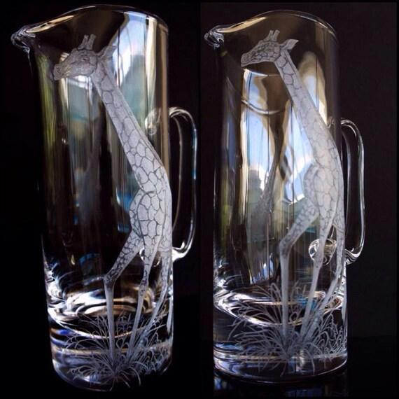Graceful Giraffe engraved on a pitcher/ Jug