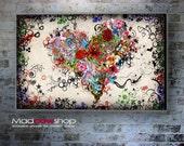 Abstract Love Heart canvas wall art print