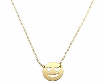 Emoji Necklace, Heart Eyes Necklace