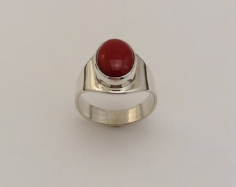 man's red coral & sterling ring