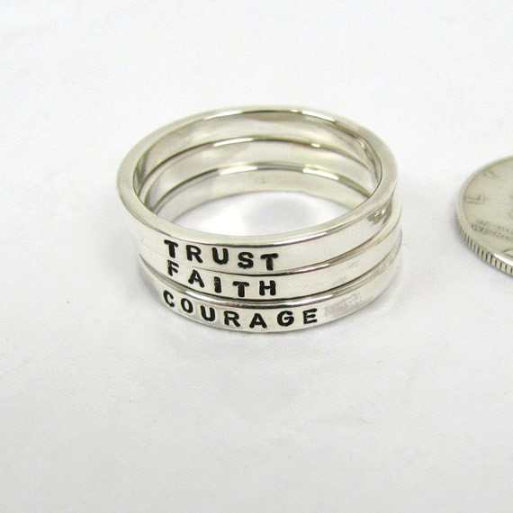 sterling silver name promise rings 2mm stacking ring name
