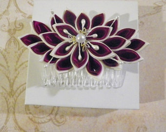 Ivory and Burgandy Kanzashi Flower Hair Comb